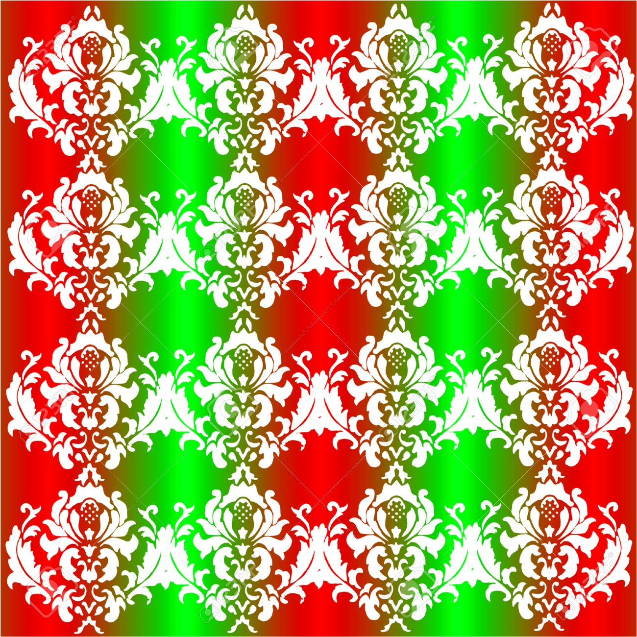 Vector Seamless Damask Pattern In Christmas Colors Of Red, Green ...