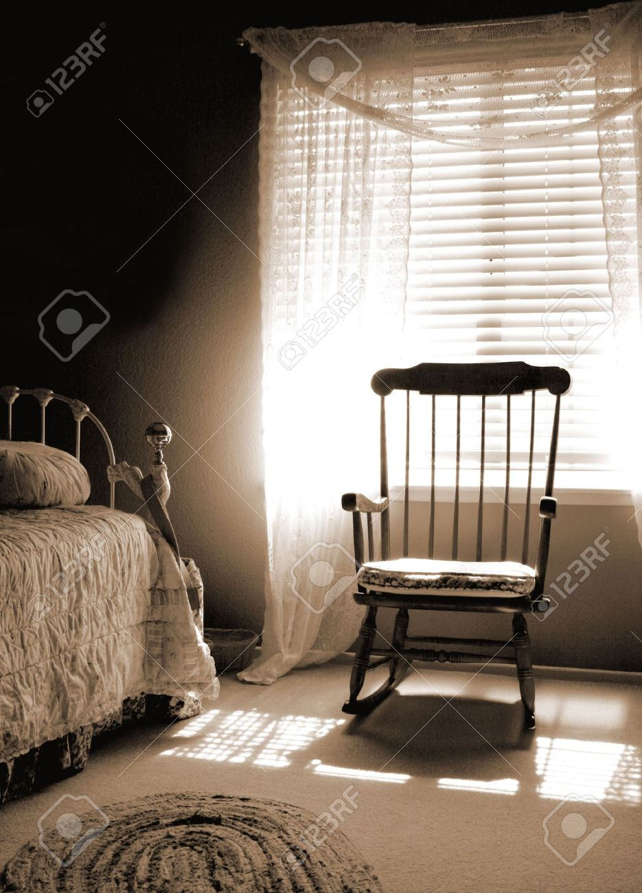 Amazing Stock Photo   Window Light Room Of Sepia Tones Old Fashioned Vintage Style  Bedroom With Sun Shining In From The Window On Rocking Chair And Bed.