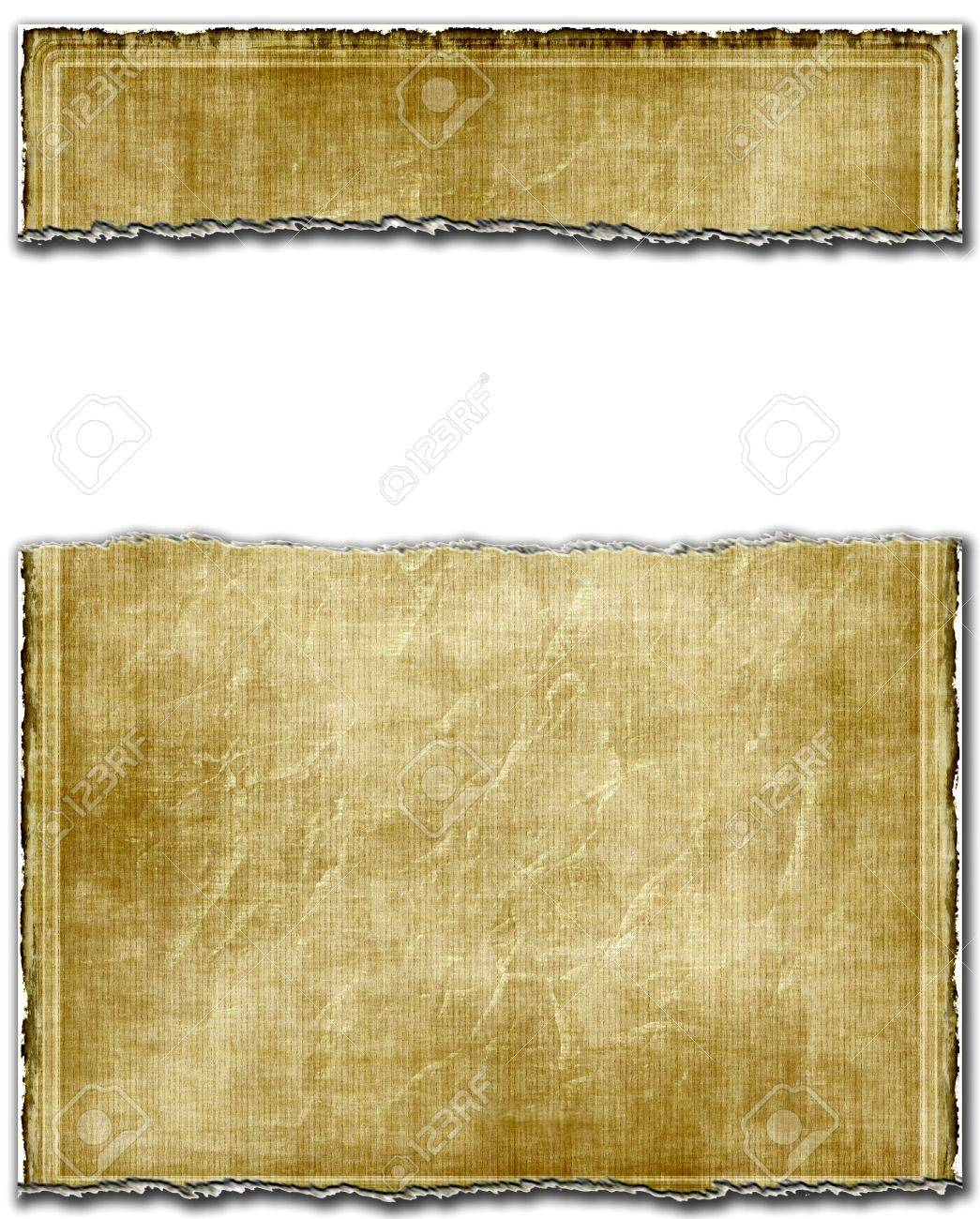 Old Light Ripped Torn Paper With White Banner Copy Space Stock ...