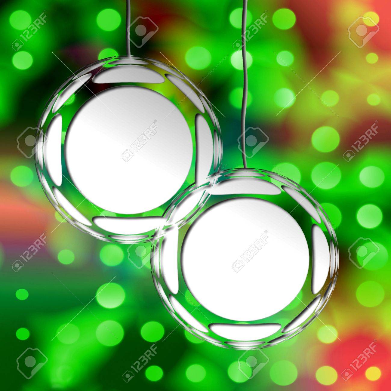 Christmas ornament frames - Empty Christmas Ornament Frames On Holiday Lights Background Ready For Your Photos Or Text Stock Photo