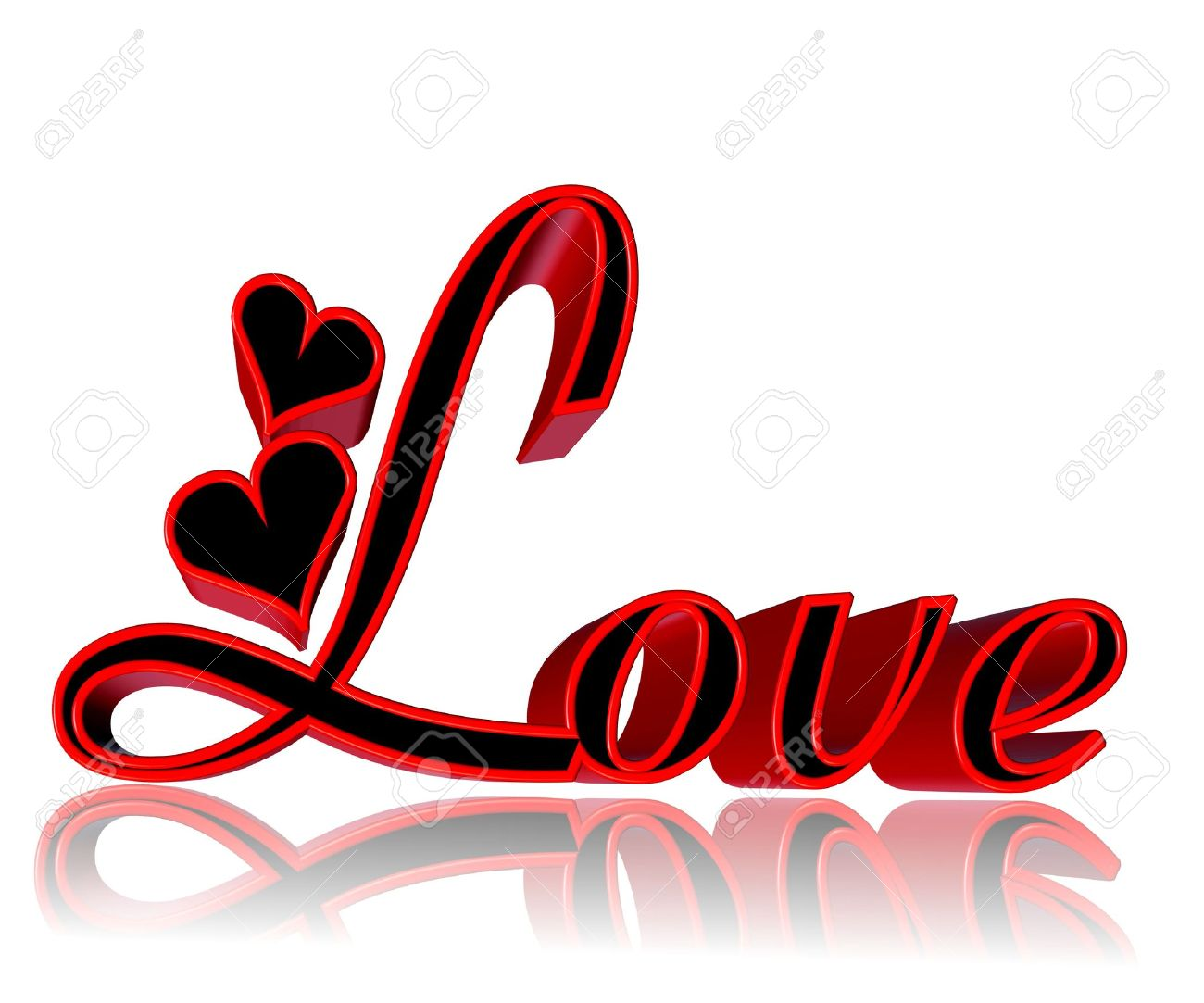 D Word Love With Hearts In Red And Black On White Background Stock Photo