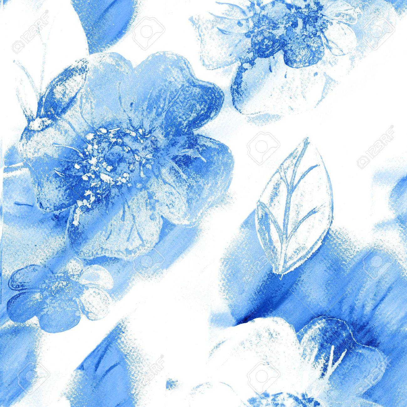Seamless Floral Art Abstract In Blue And White Stock Photo - 8218816