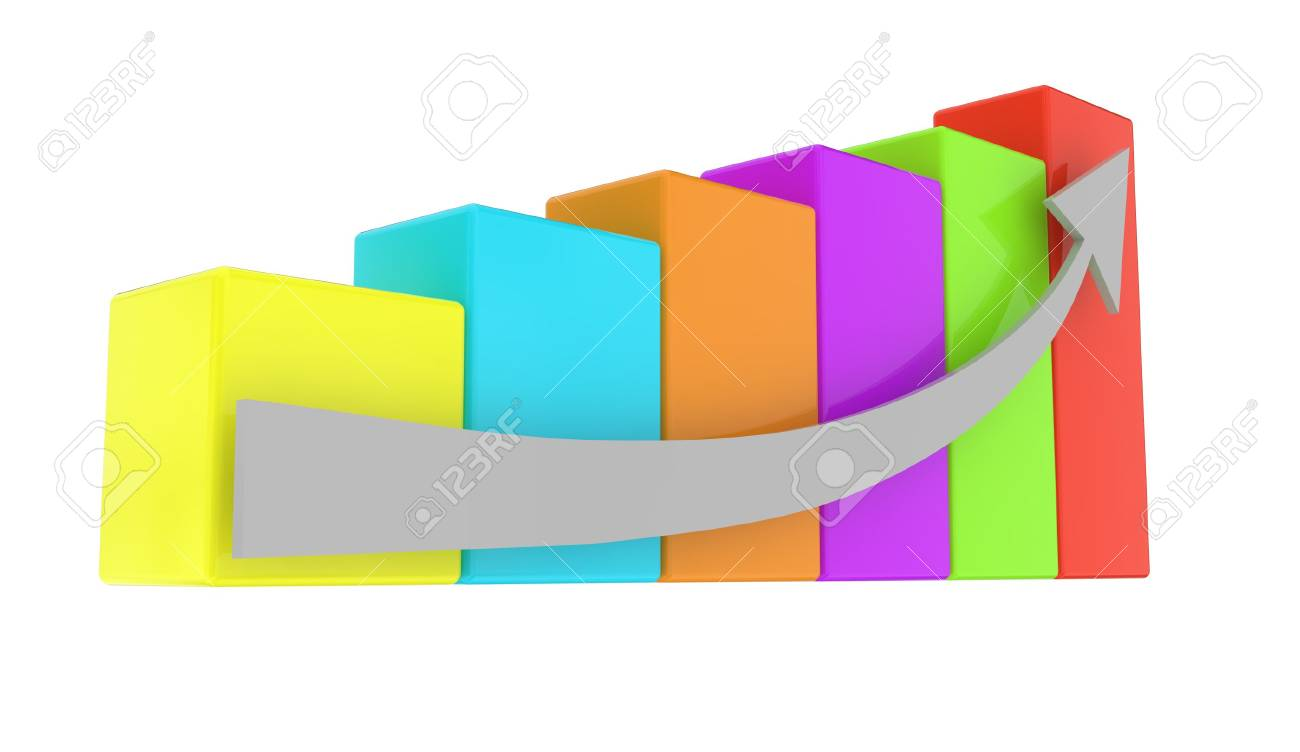 different color graph with arrow on white background Stock Photo - 8221993