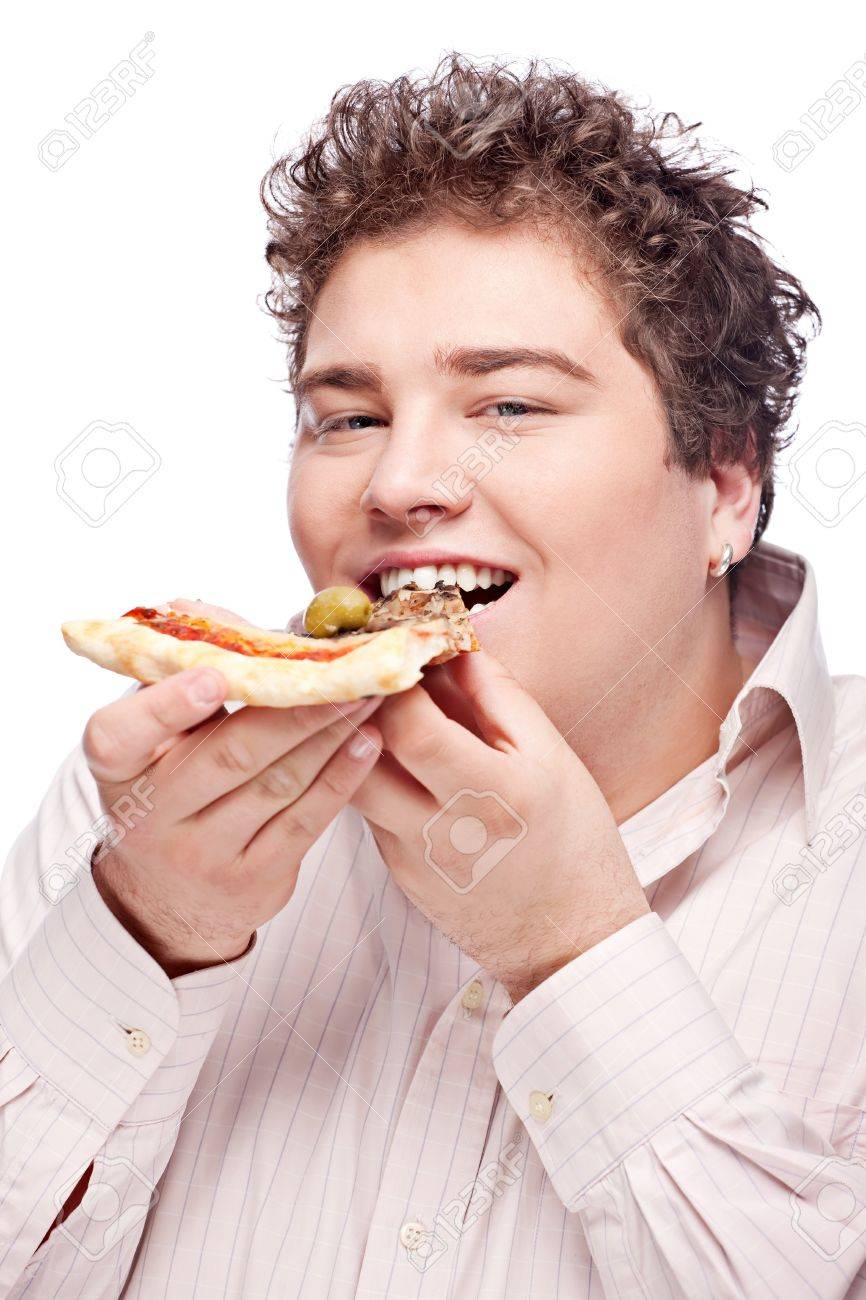 A chubby boy eating