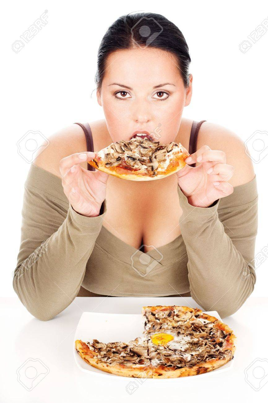 chubby woman enjoy eating a slice of pizza, isolated on white Stock Photo - 14881019