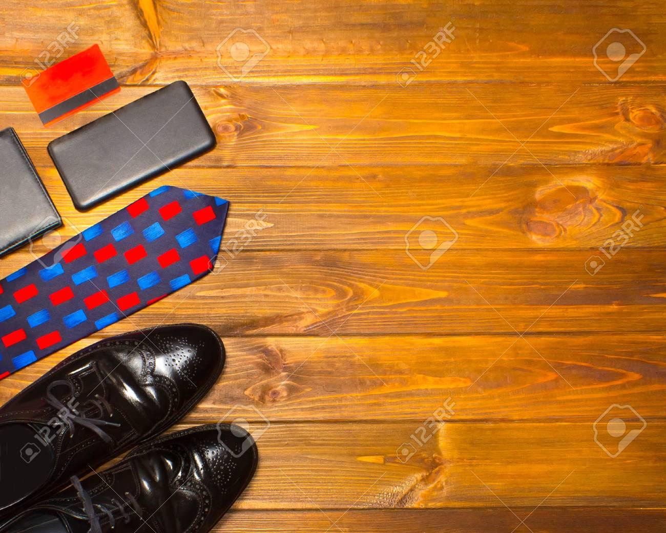 The Elegant Male Set Mens Shoes Leather Belt On Wooden Background