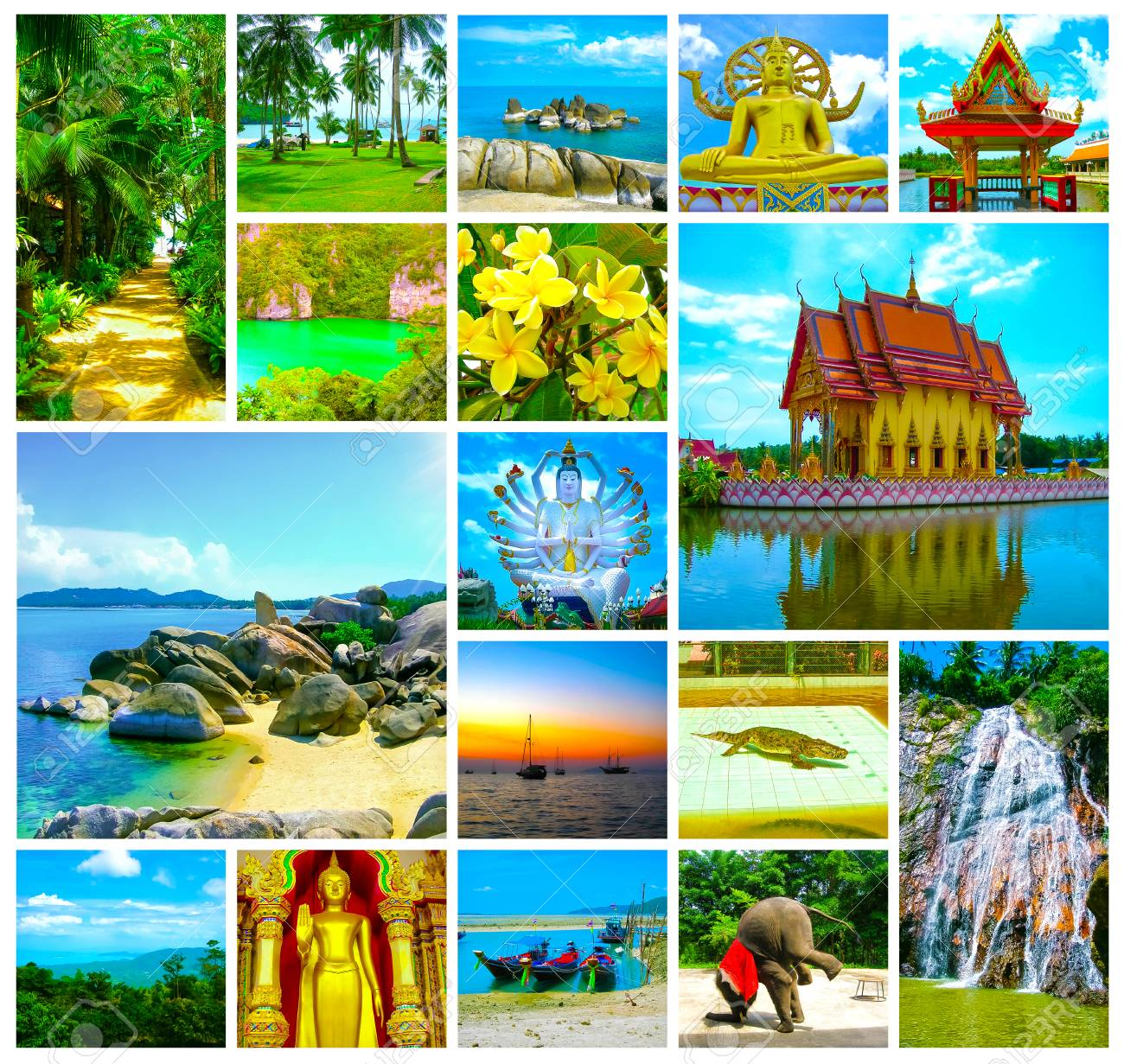 The Collage From Views Of Samui Island Thailand Stock Photo