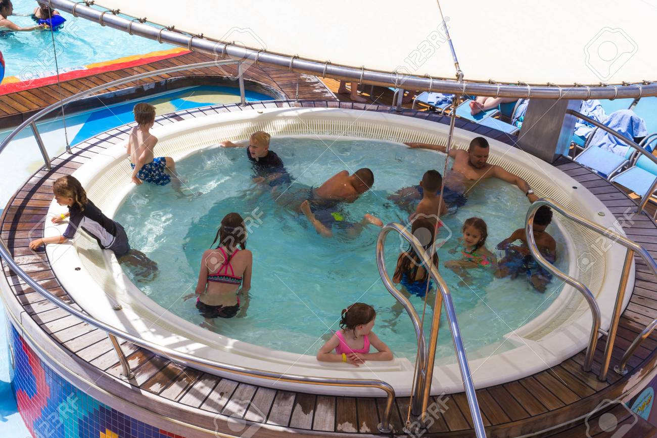 Cape Canaveral, USA - May 02, 2018: The jacuzzi swimming pool..