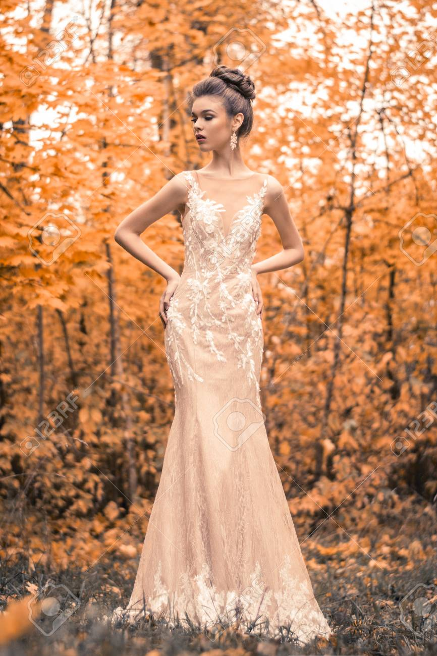 Beautiful Sensual Young Brunette Bride In Long White Wedding.. Stock ...