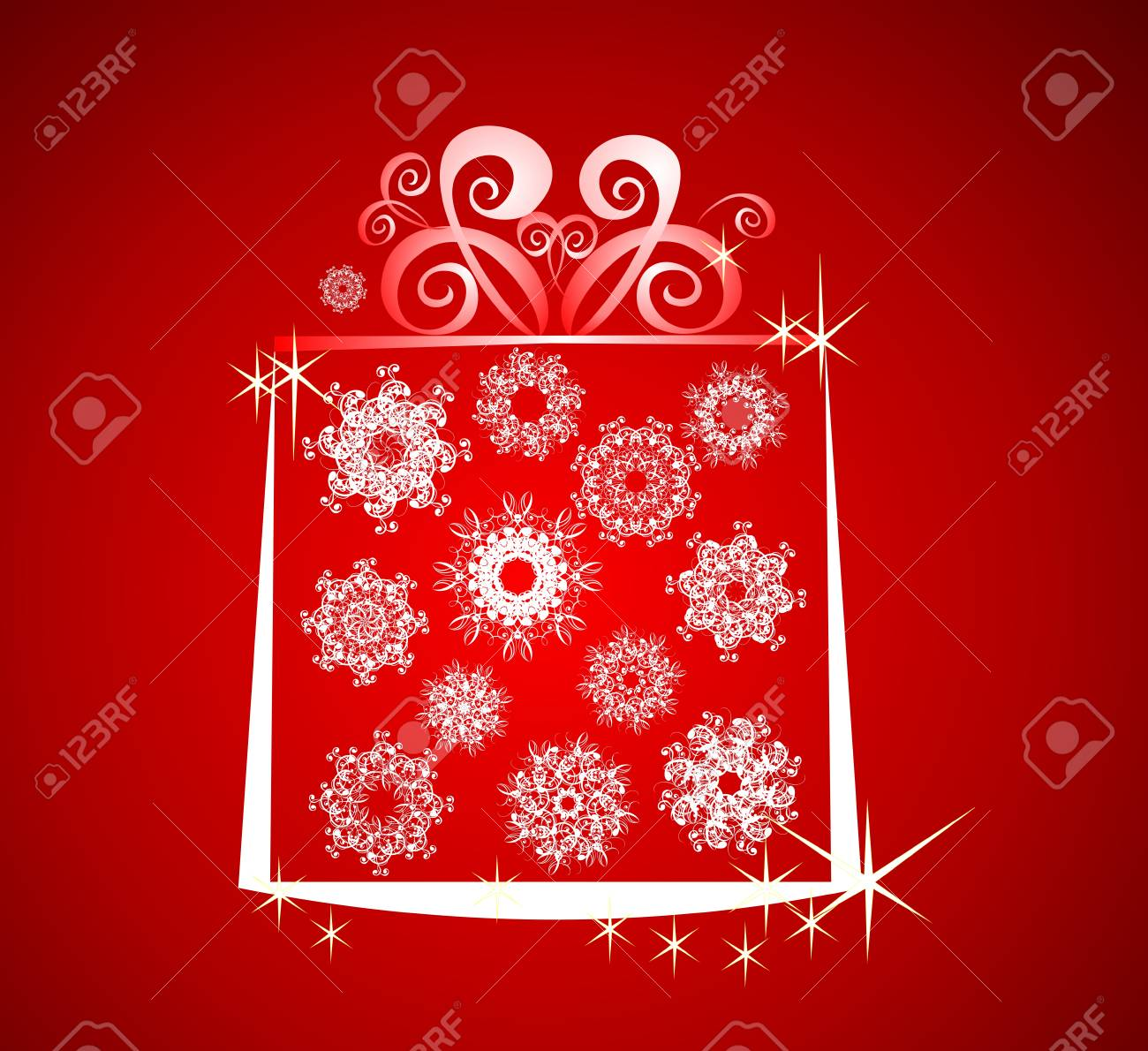 Christmas illustration with gift box and snowflake on red background Stock Vector - 8157126