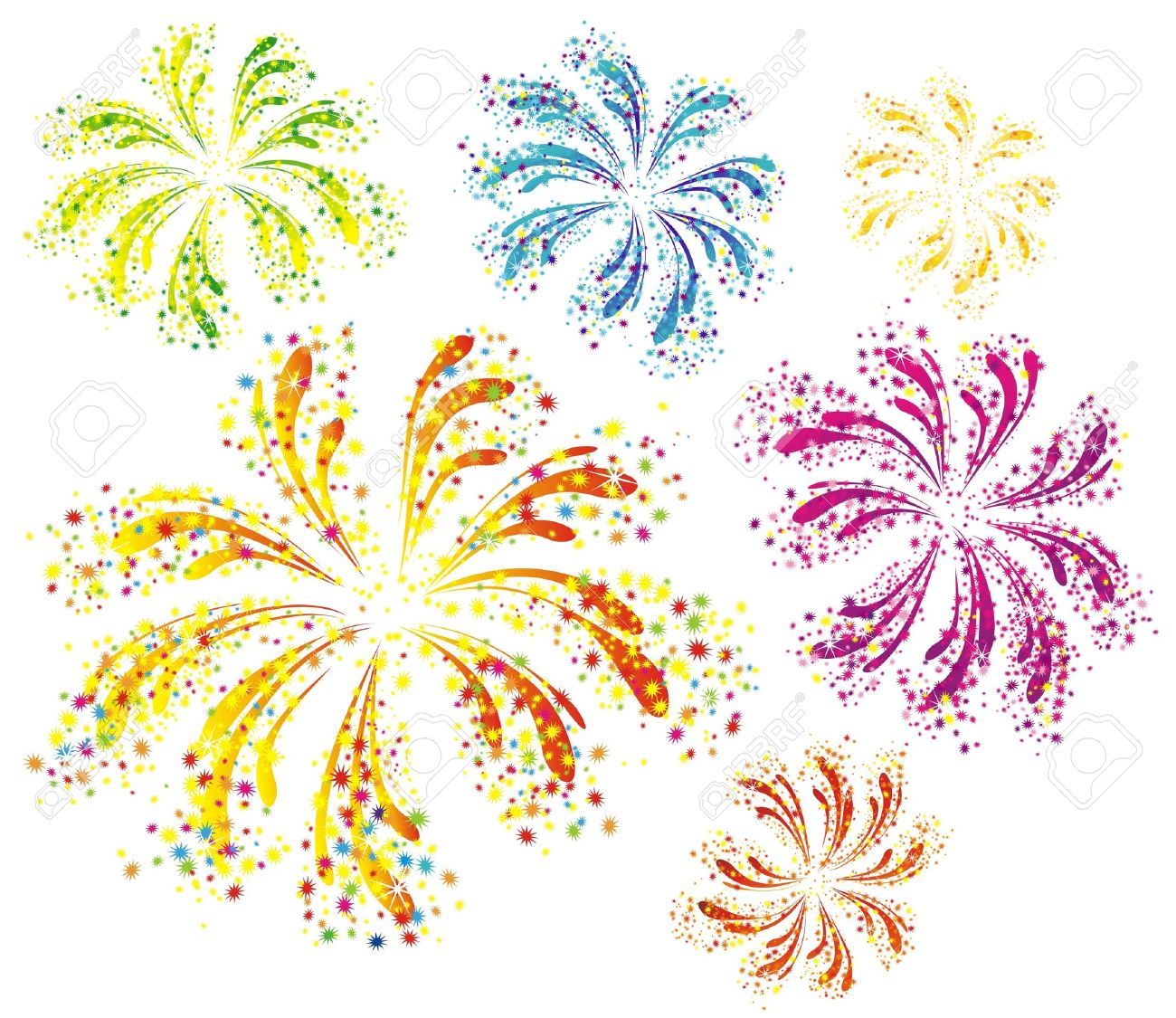 Brightly colorful vector fireworks isolated on white background Stock Vector - 16258194