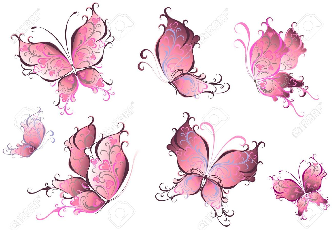 Set of pink butterflies isolated on a white background Stock Vector - 16258145
