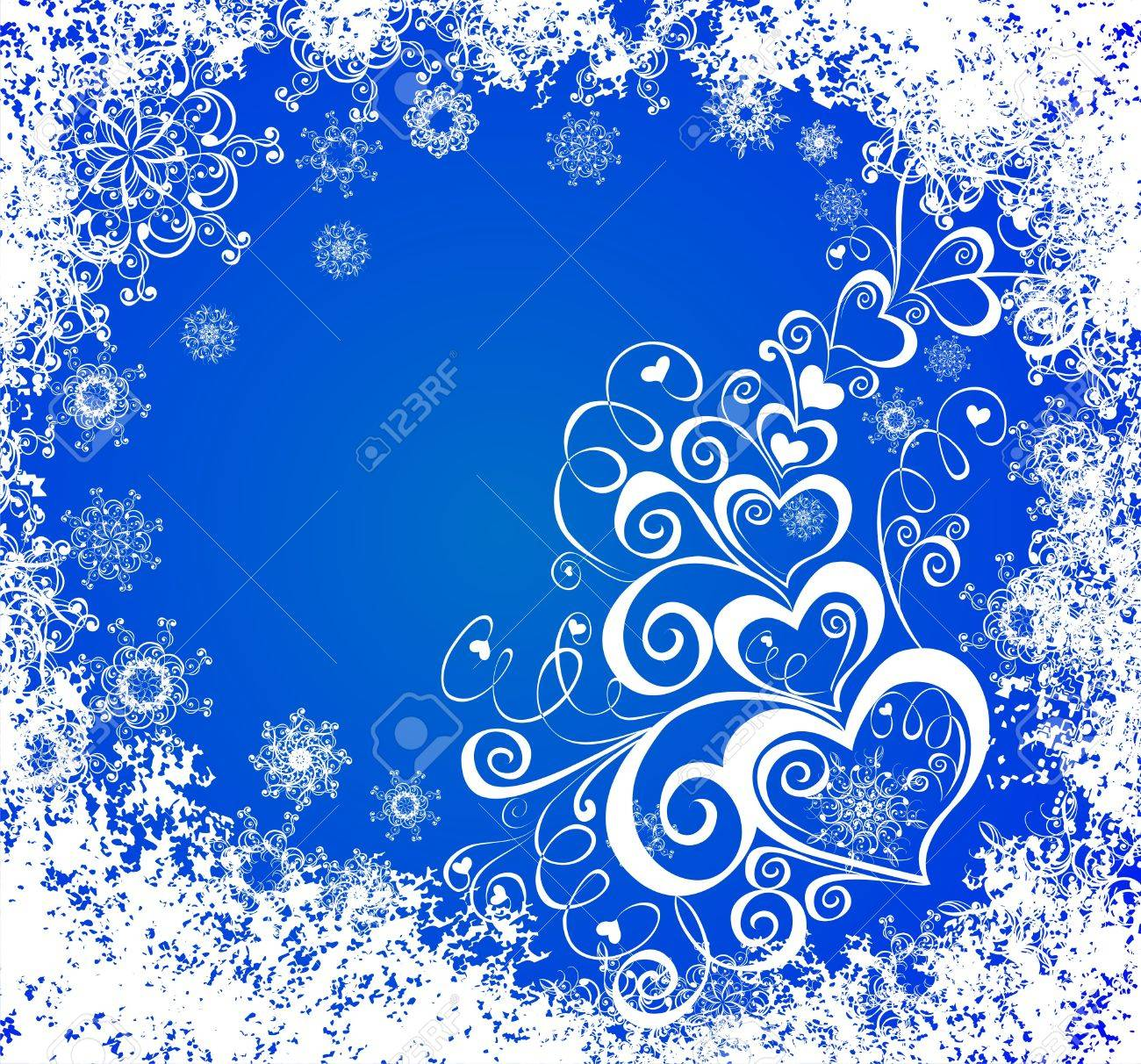 Christmas background with hearts and snowflakes Stock Vector - 16258444