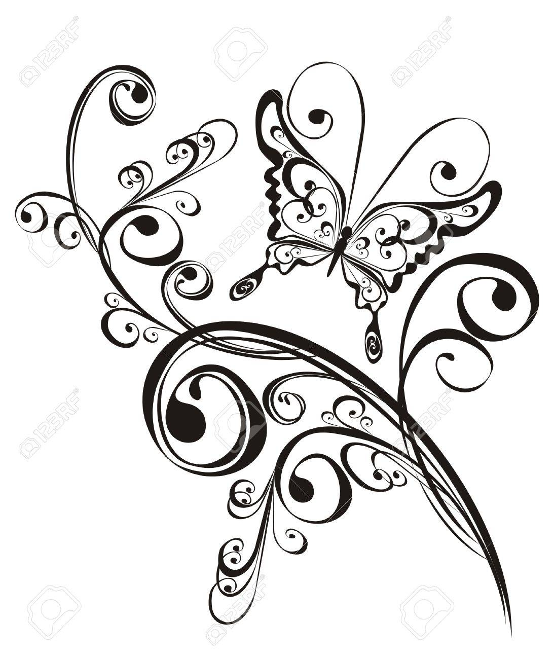 Butterfly and floral ornament, element for design, vector Stock Vector - 16258507