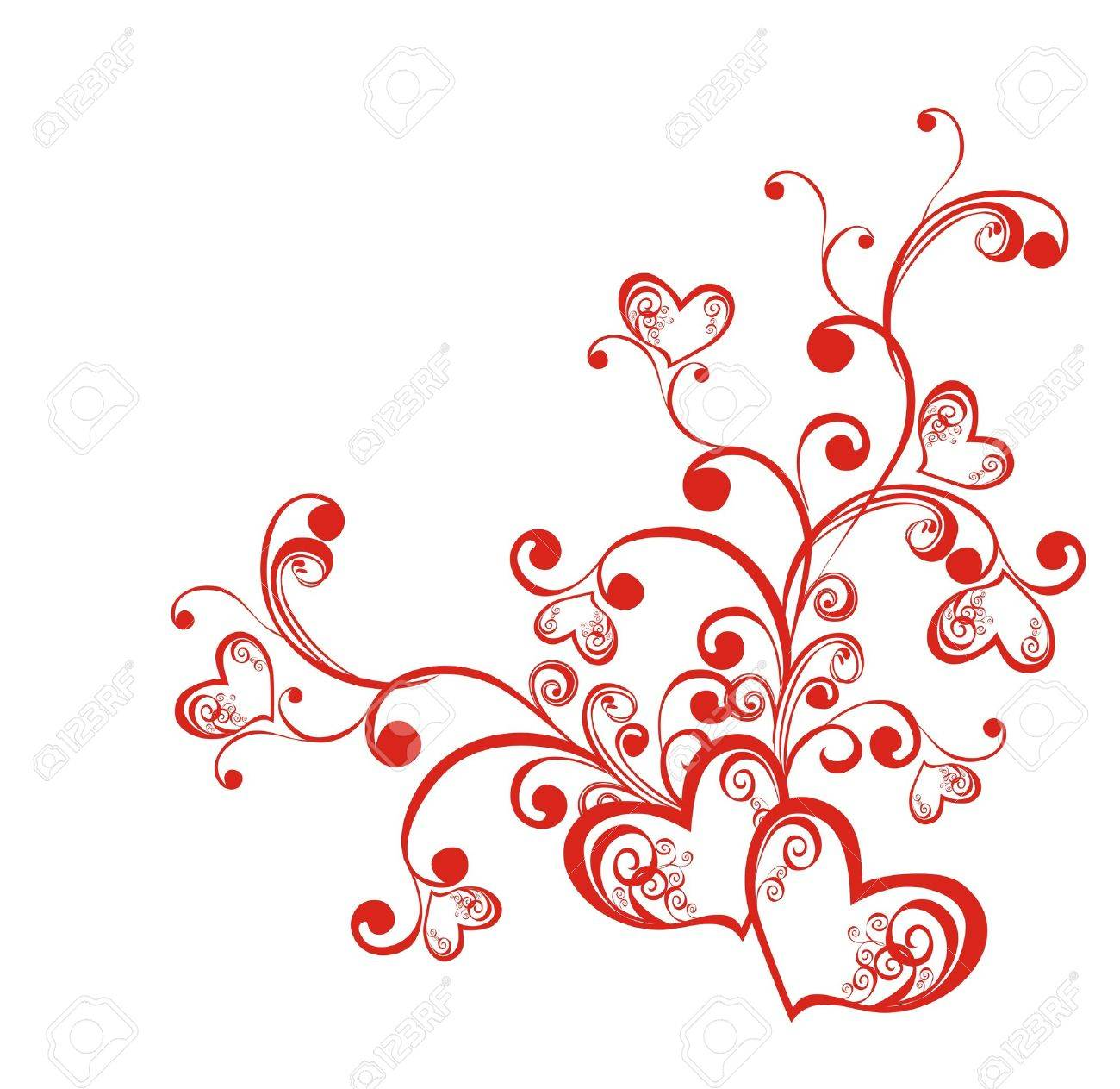 Decorative branch with hearts, element for design Stock Vector - 16388976