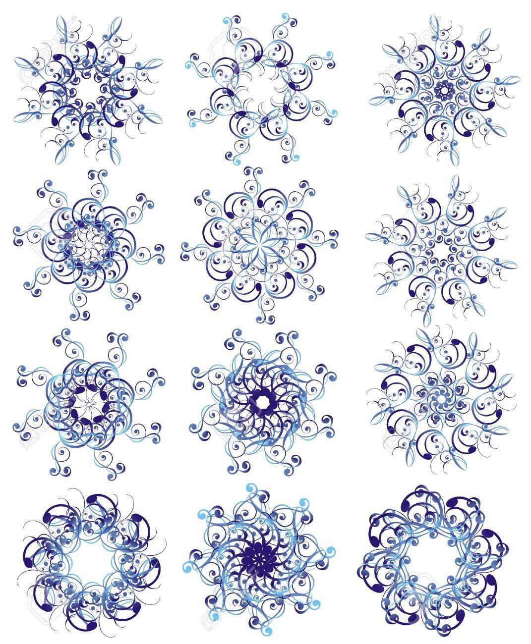Snowflake set Stock Vector - 16389151