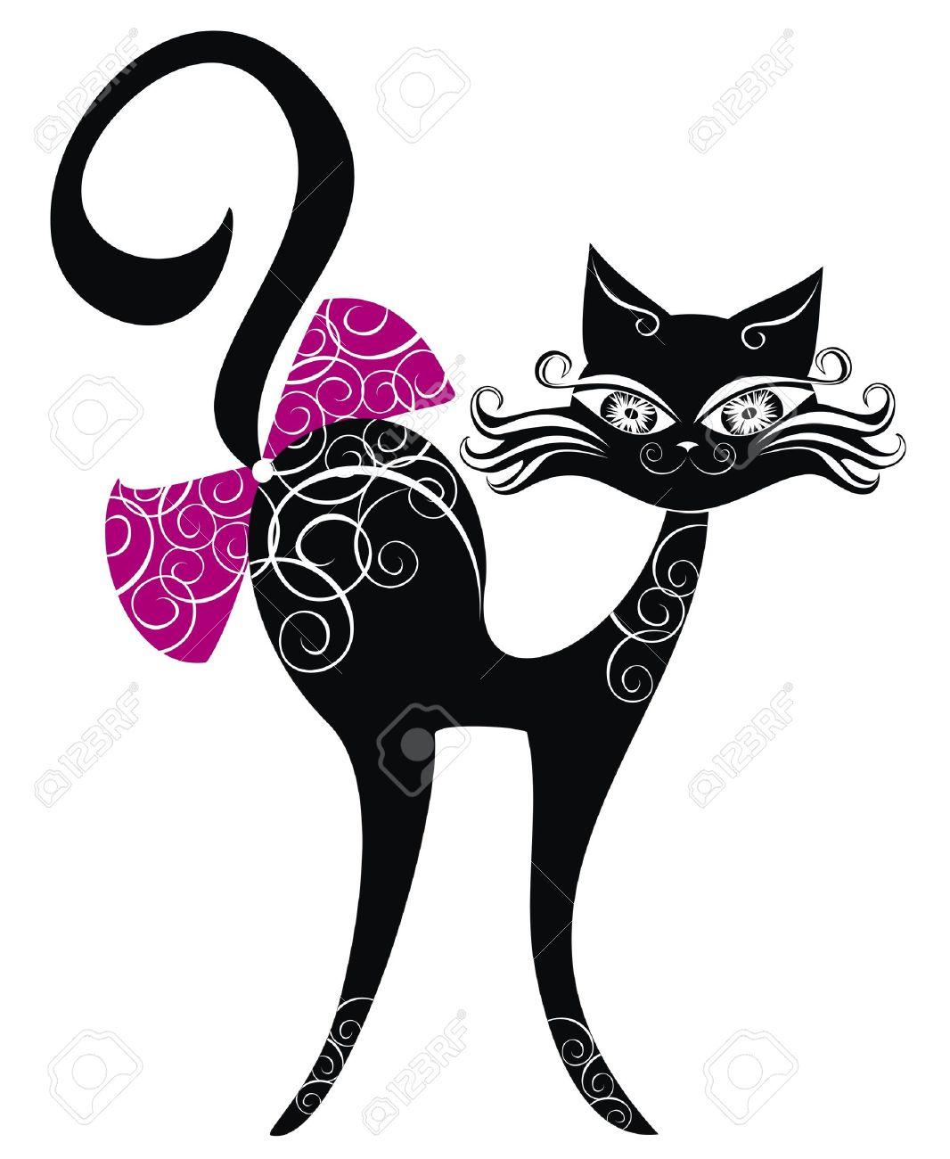 Gato negro Foto de archivo - 16389073