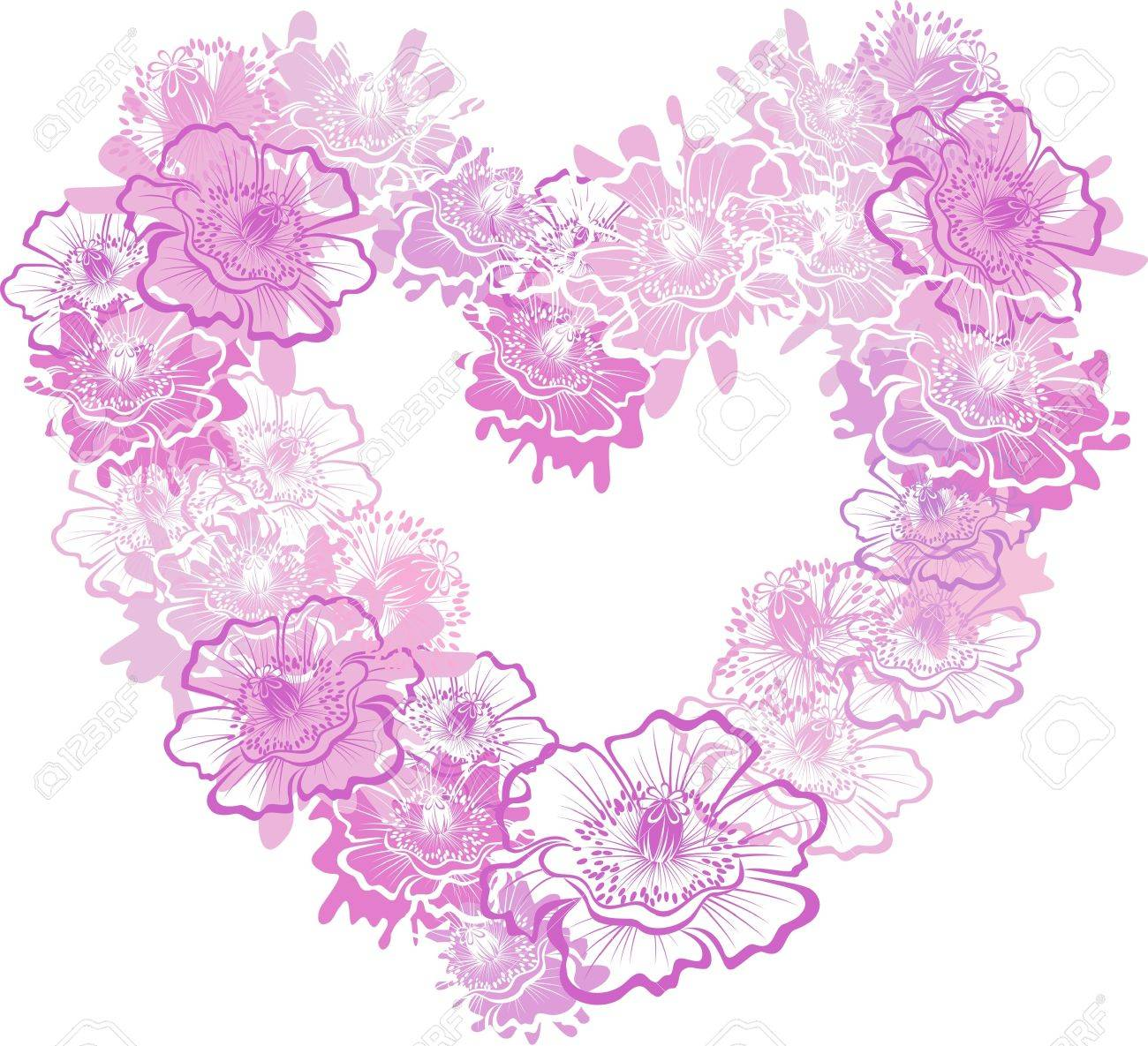 Heart with flower poppy, image Stock Vector - 16389128