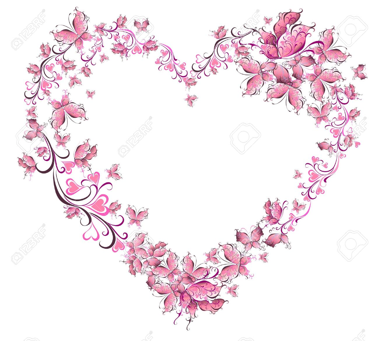 Floral Love Shape Heart Of Butterflies Valentine Day Card