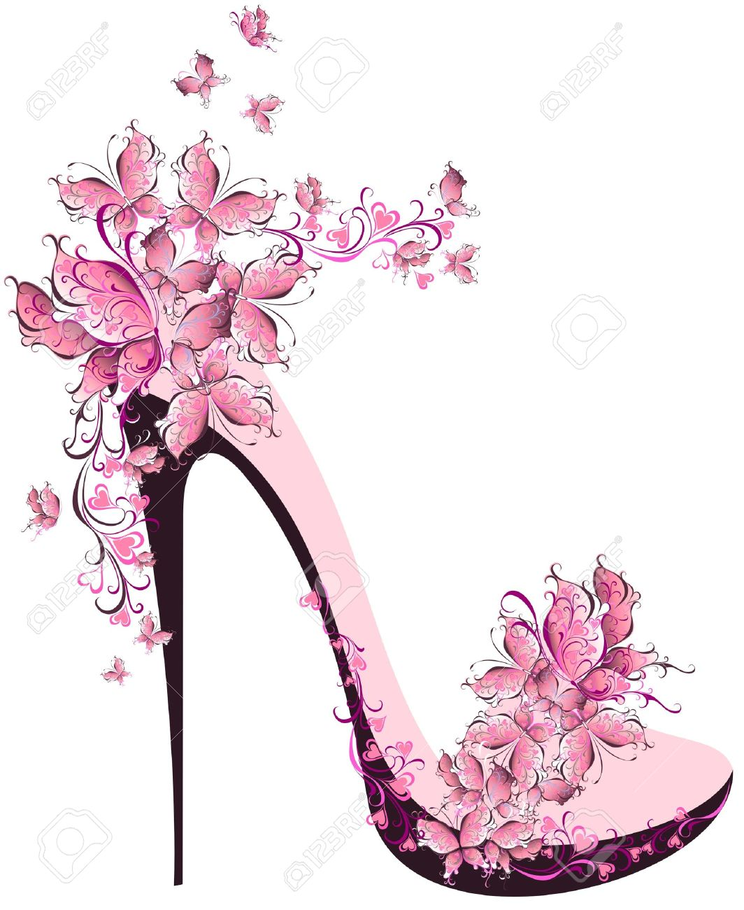 A Decorated With Shoes On Butterflies High Heel FTKc1lJ