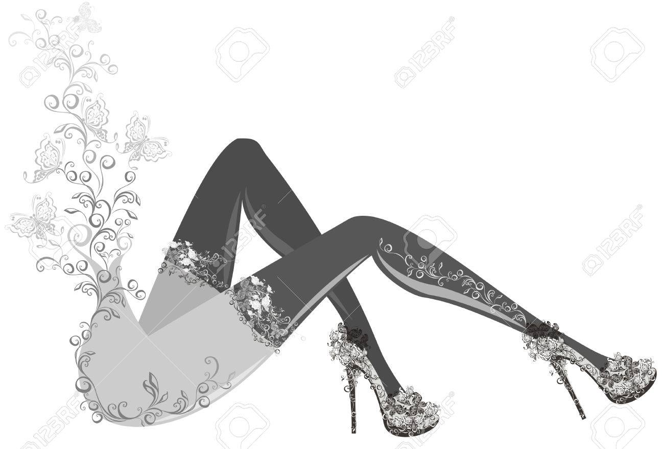 Pretty legs in stockings and high heels Stock Vector - 16389282