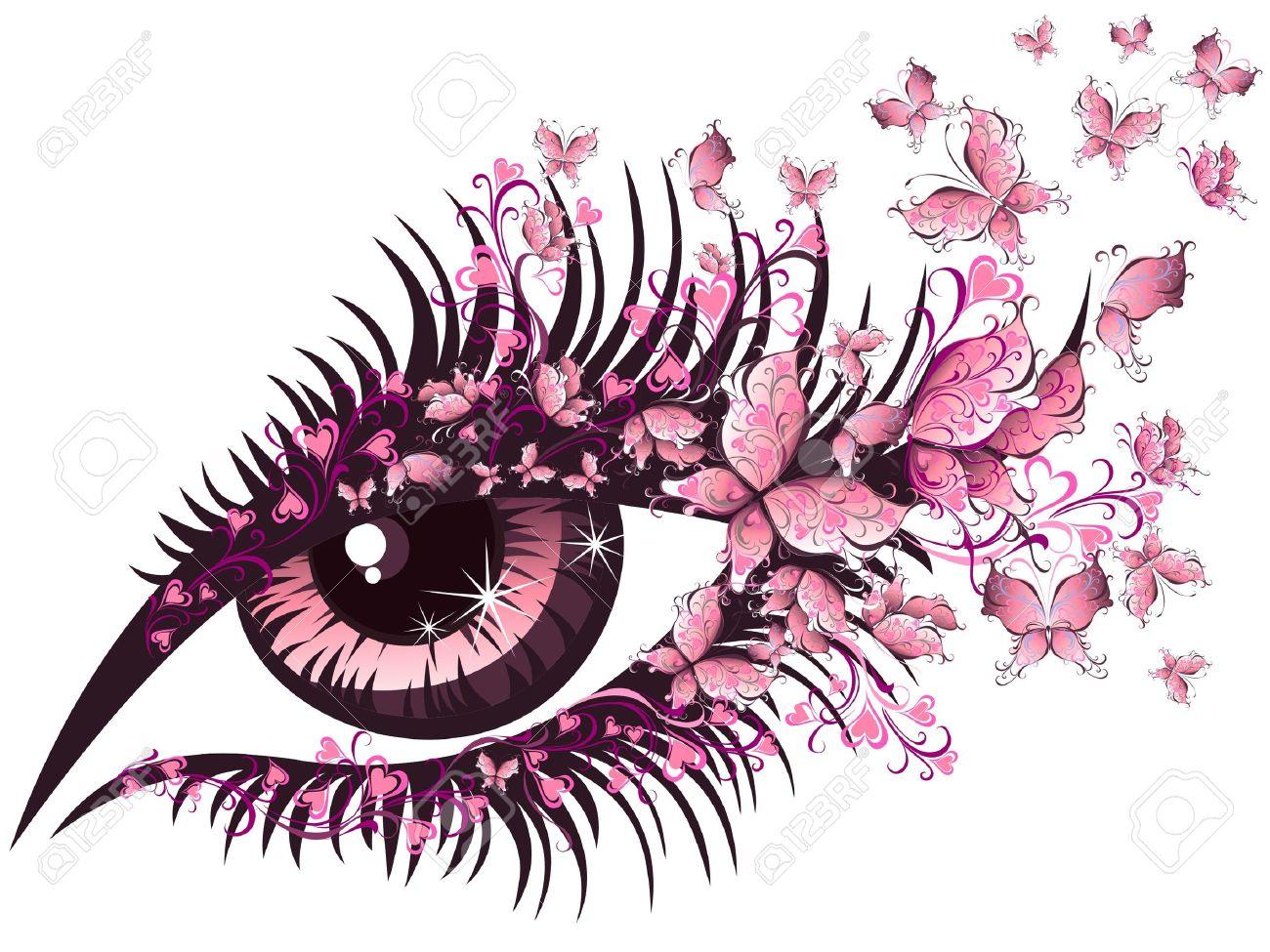 Beautiful female eye with butterflies - 16389284