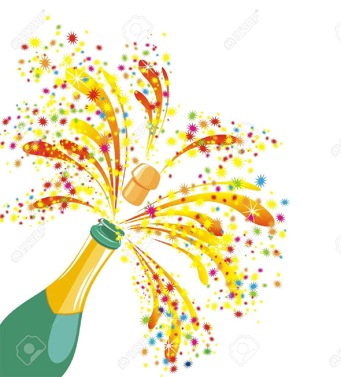 Celebration - Champagne Celebration Open Champagne Bottle Stock Vector 16468236