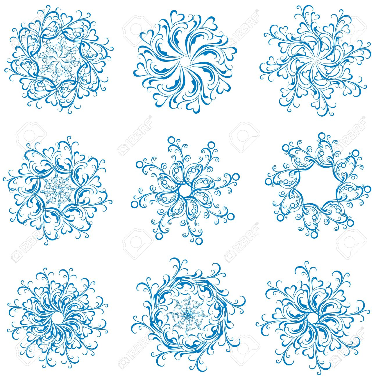 Set of blue vector snowflakes  Vector winter element for design Stock Vector - 16468227