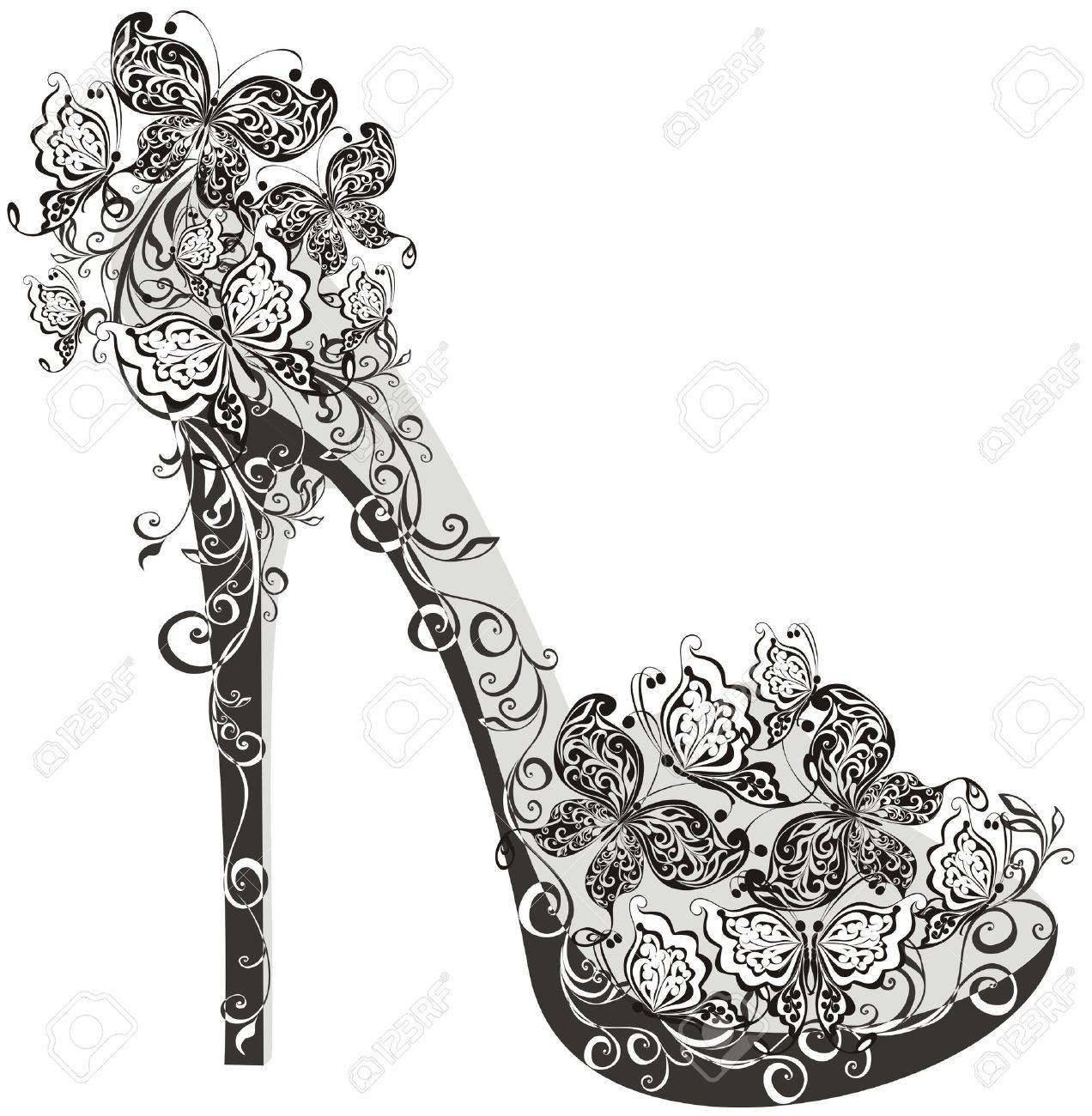 Shoes on a high heel decorated with flowers and butterflies Stock Vector - 16468209