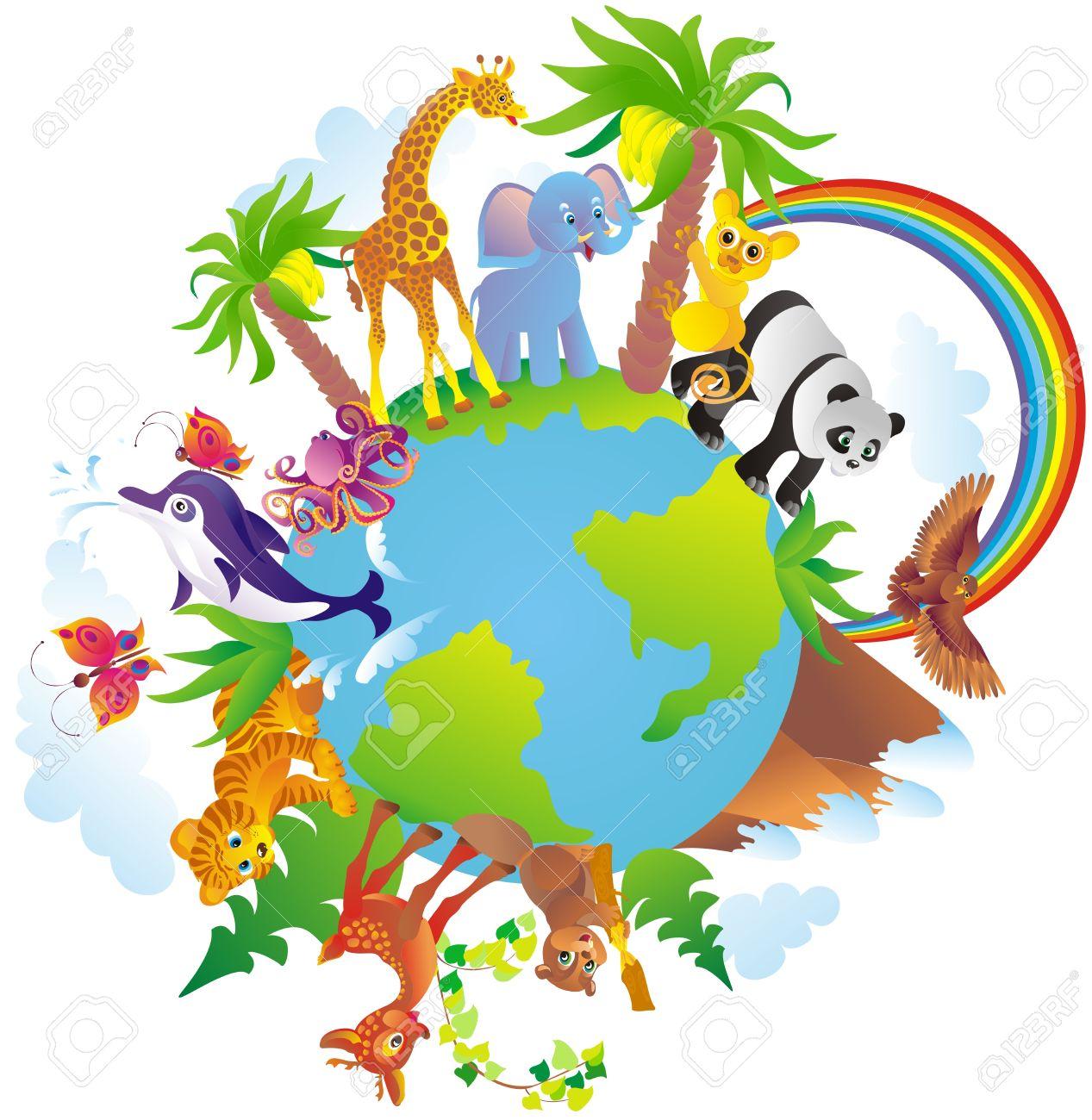 Cartoon animals walking around a globe Stock Vector - 16561268