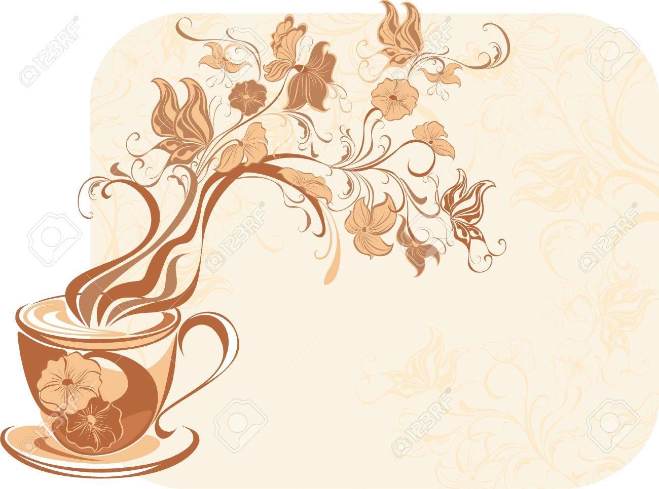 Floral tea with fragrant flower steam Stock Vector - 16561259