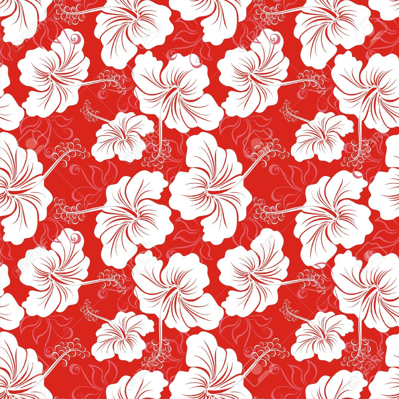 Seamless Background With Hibiscus Flower Hawaiian Patterns Stock Vector
