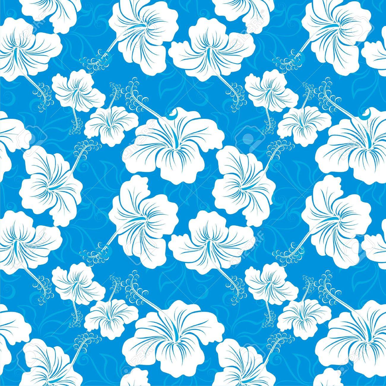 Fondo Inconsutil Con Dibujos De Flores De Hibisco Hawaiano