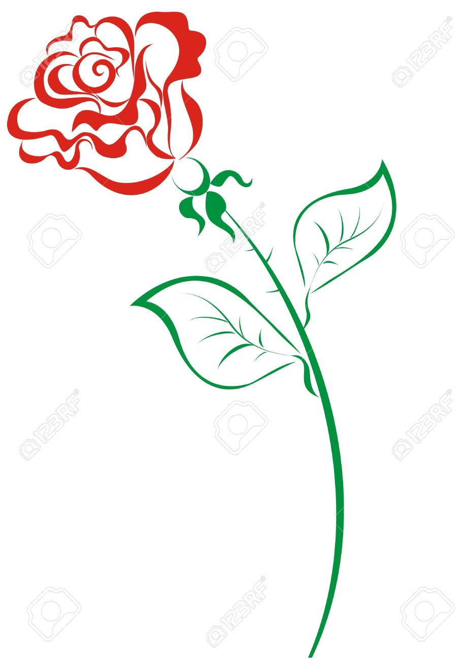 Stylized red roses isolated on white background Stock Vector - 16561221