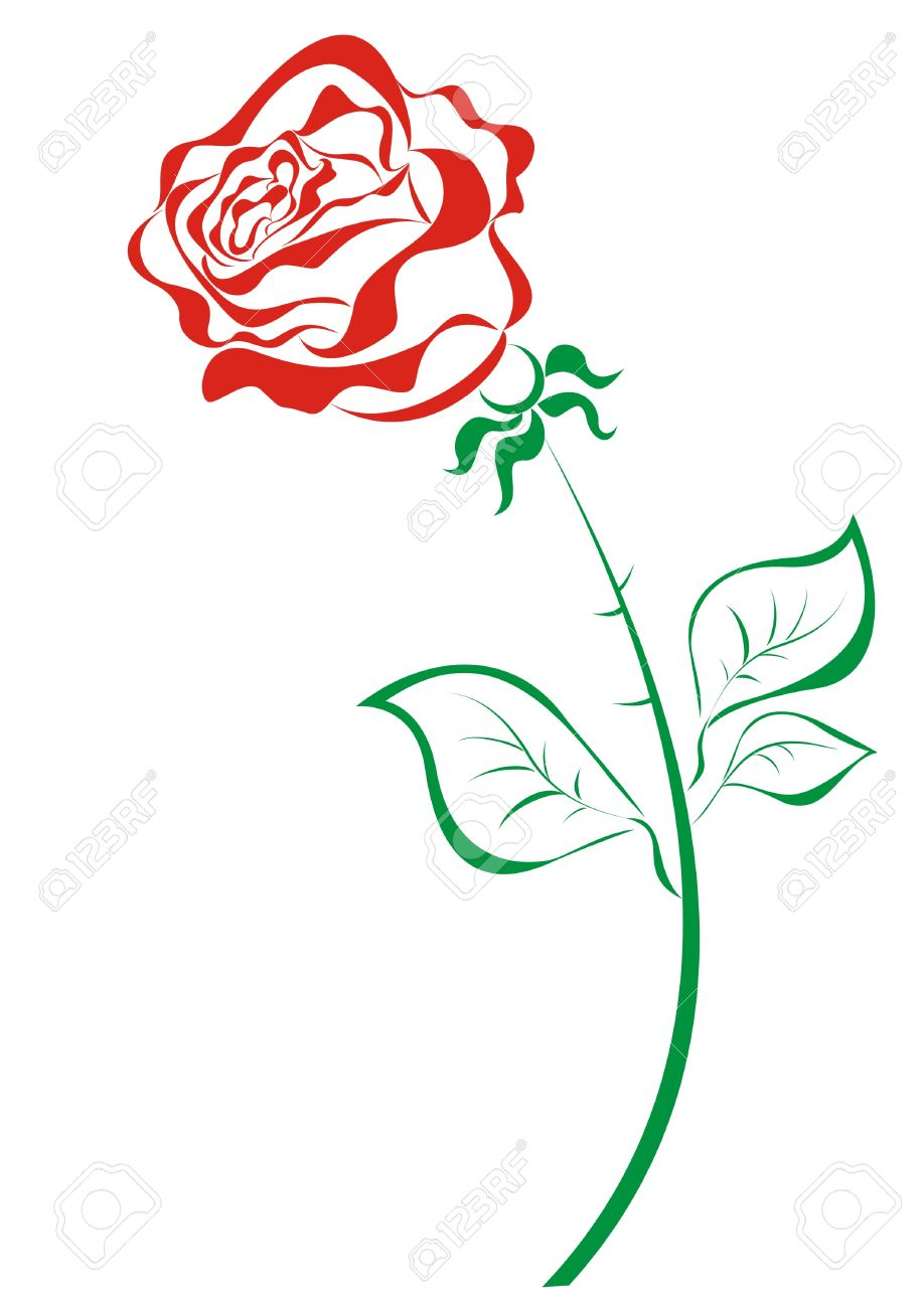 Stylized red roses isolated on white background Stock Vector - 16561224