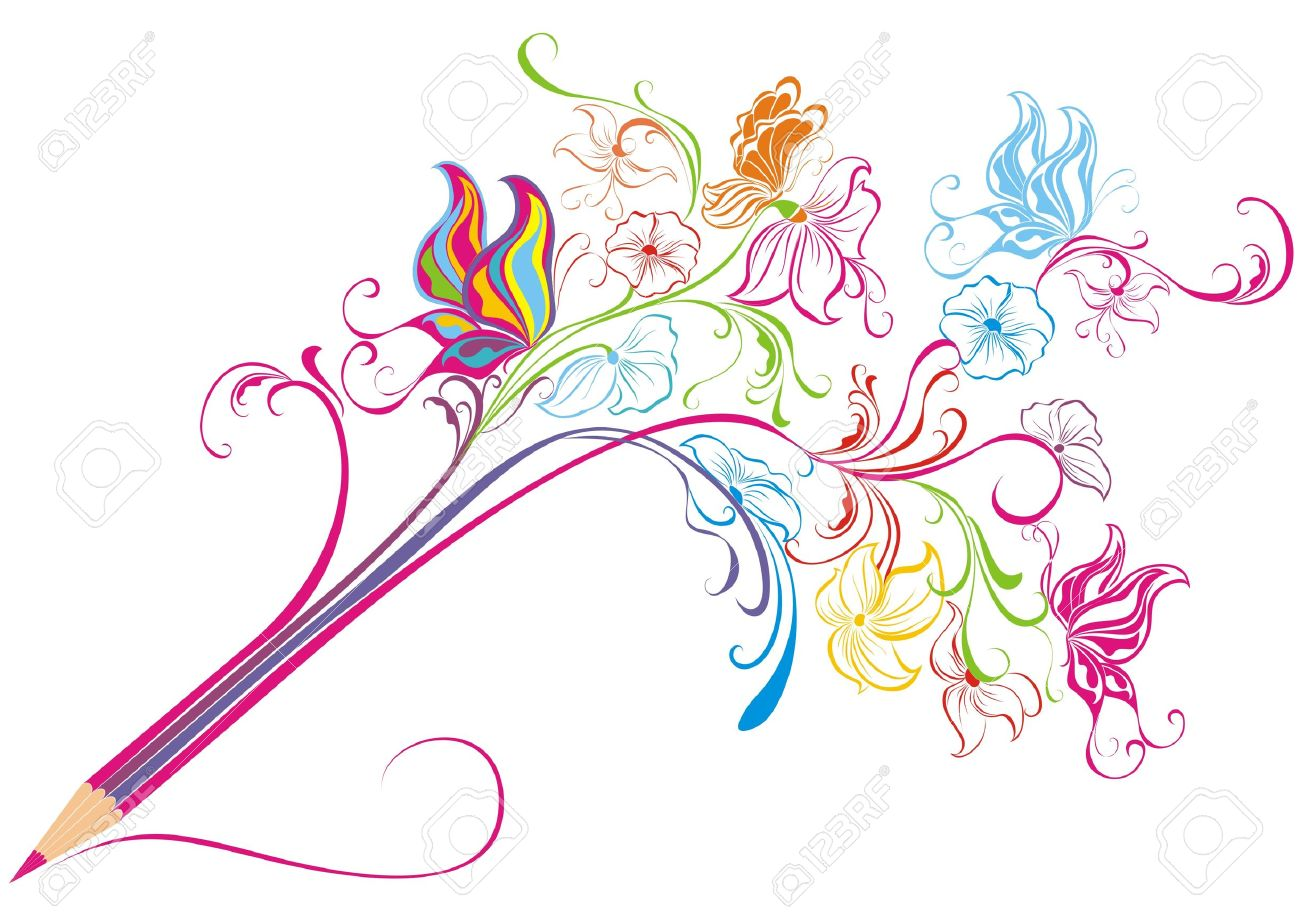creative floral pencil art concept, illustration royalty free