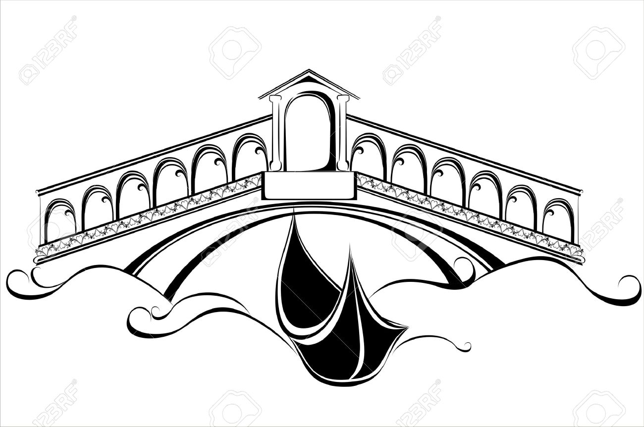 Venecia Paisaje Con Góndola Barco Y El Puente Ilustraciones ...