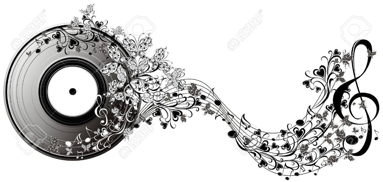 musical disk with butterflies floral record royalty free cliparts