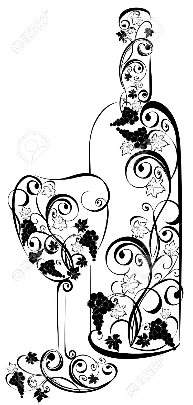 Stylized wine bottle and wine glass Stock Vector - 16949573