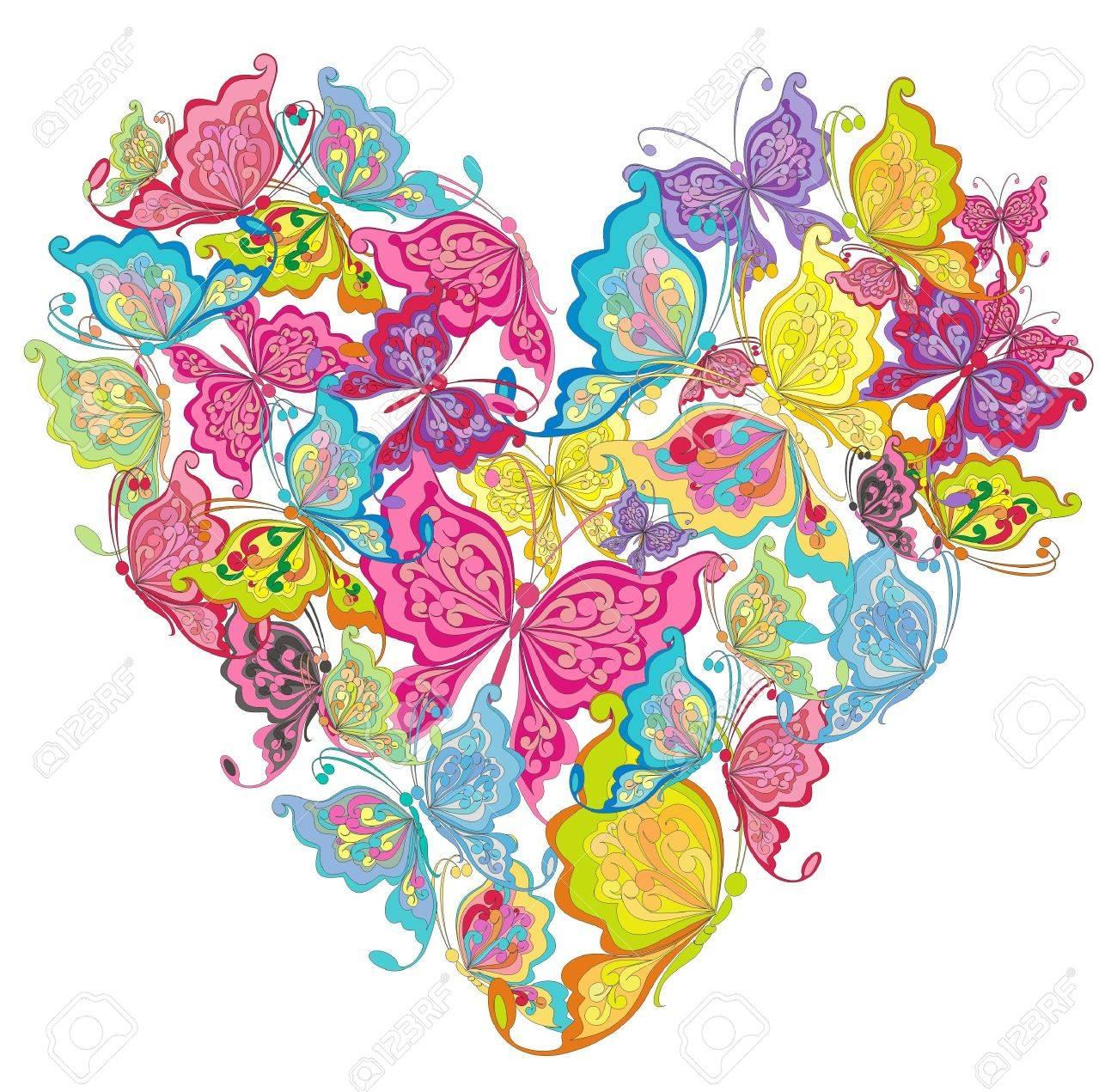 Floral Love Shape Vector Heart Of Butterflies