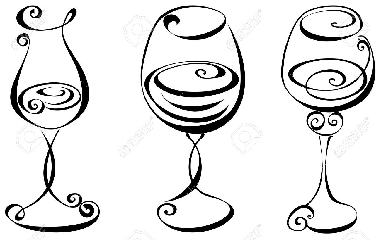 stylized black and white wine glass royalty free cliparts, vectors