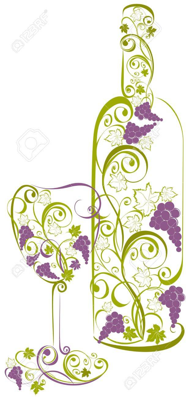 wine bottle and wine glass Stock Vector - 17474749