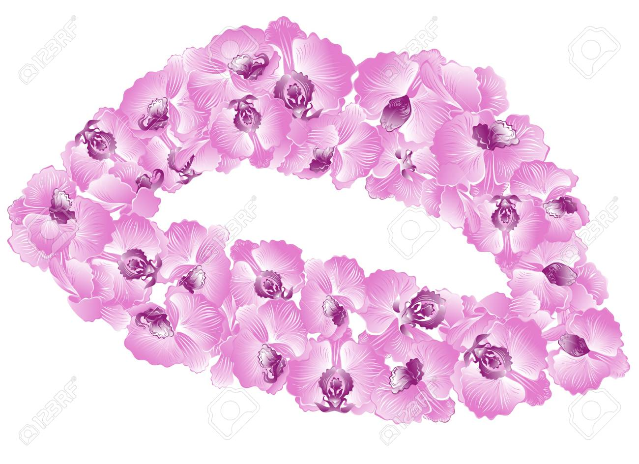 Sensuality lips in orchids Stock Vector - 17642482
