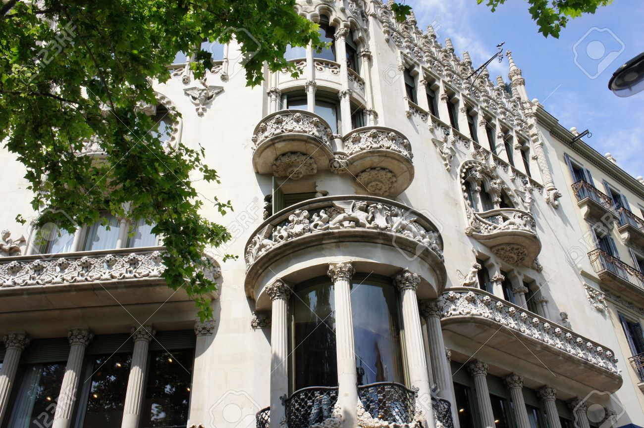 Old Beautiful Architecture At Famous Passeig De Gracia Street Eixample District Barcelona