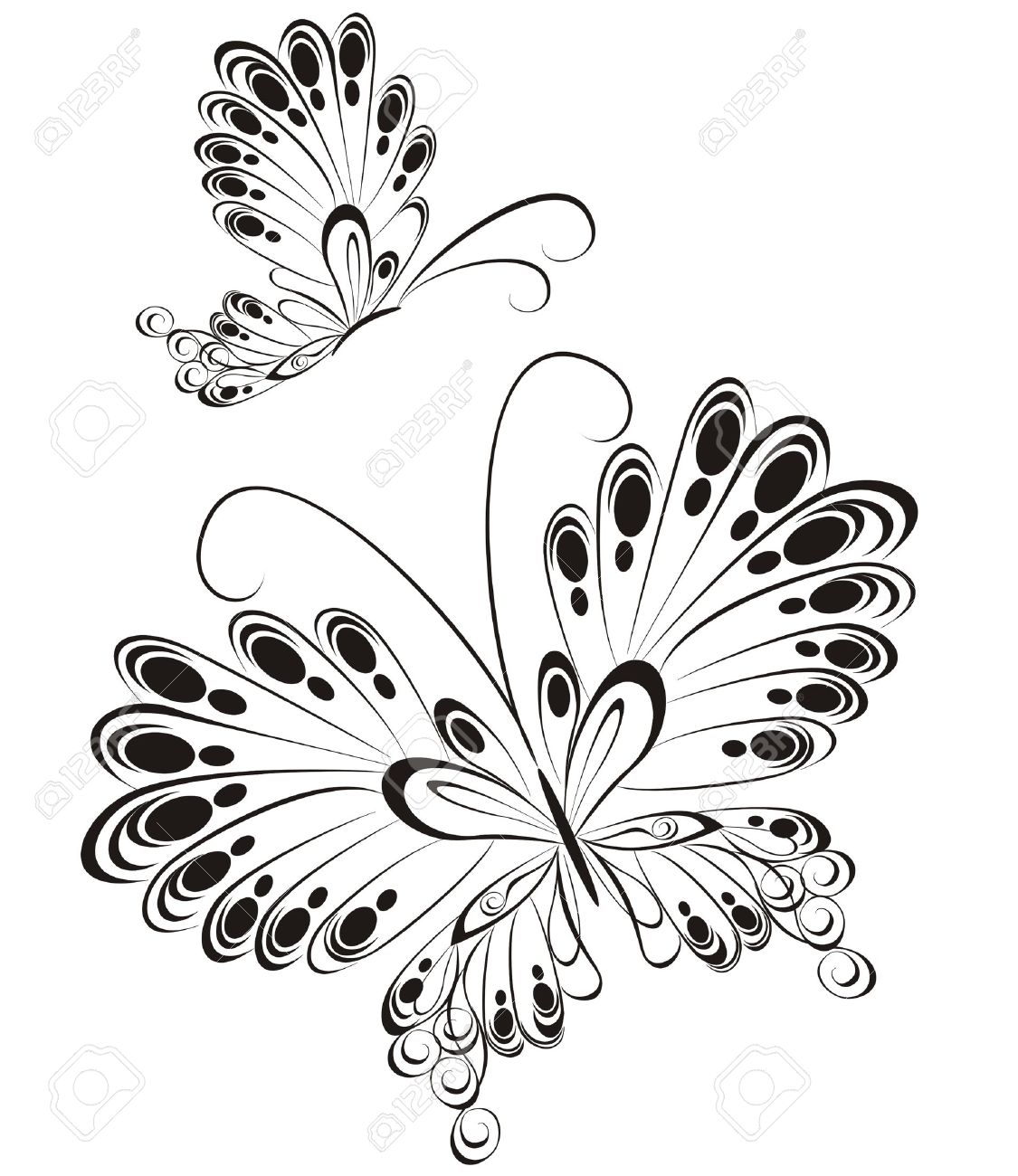 vector of black and white butterflies royalty free cliparts