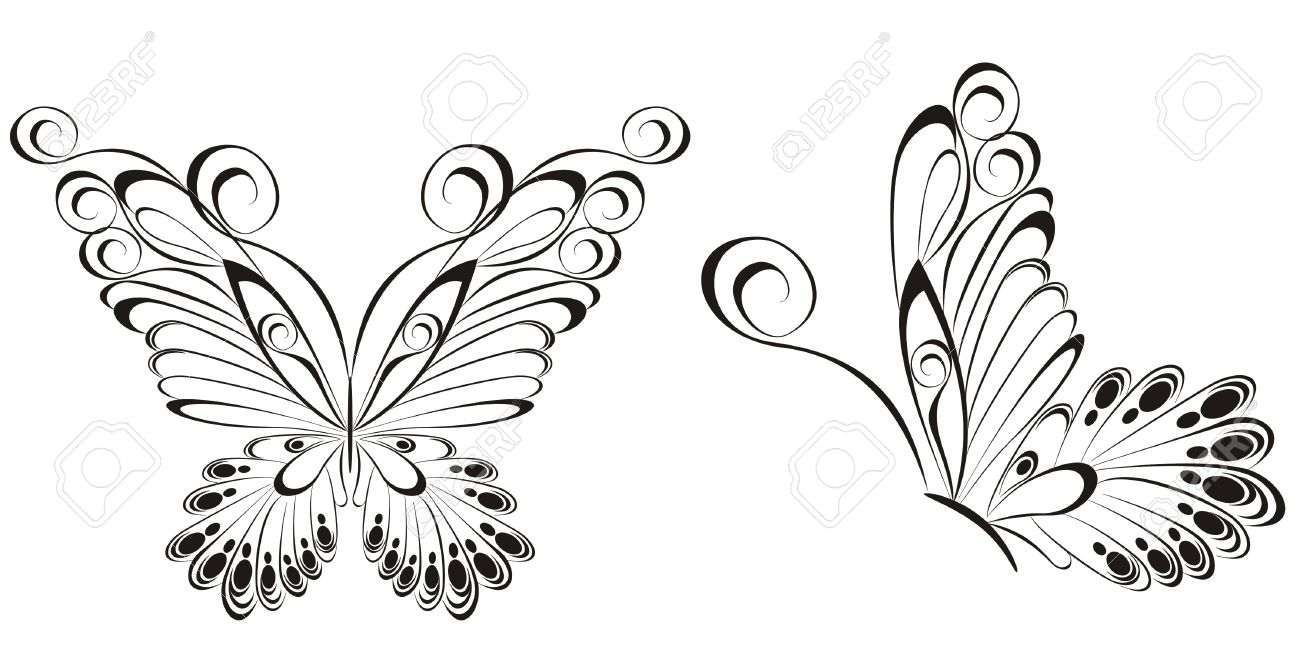 Vector of black and white butterflies Stock Vector - 20225680