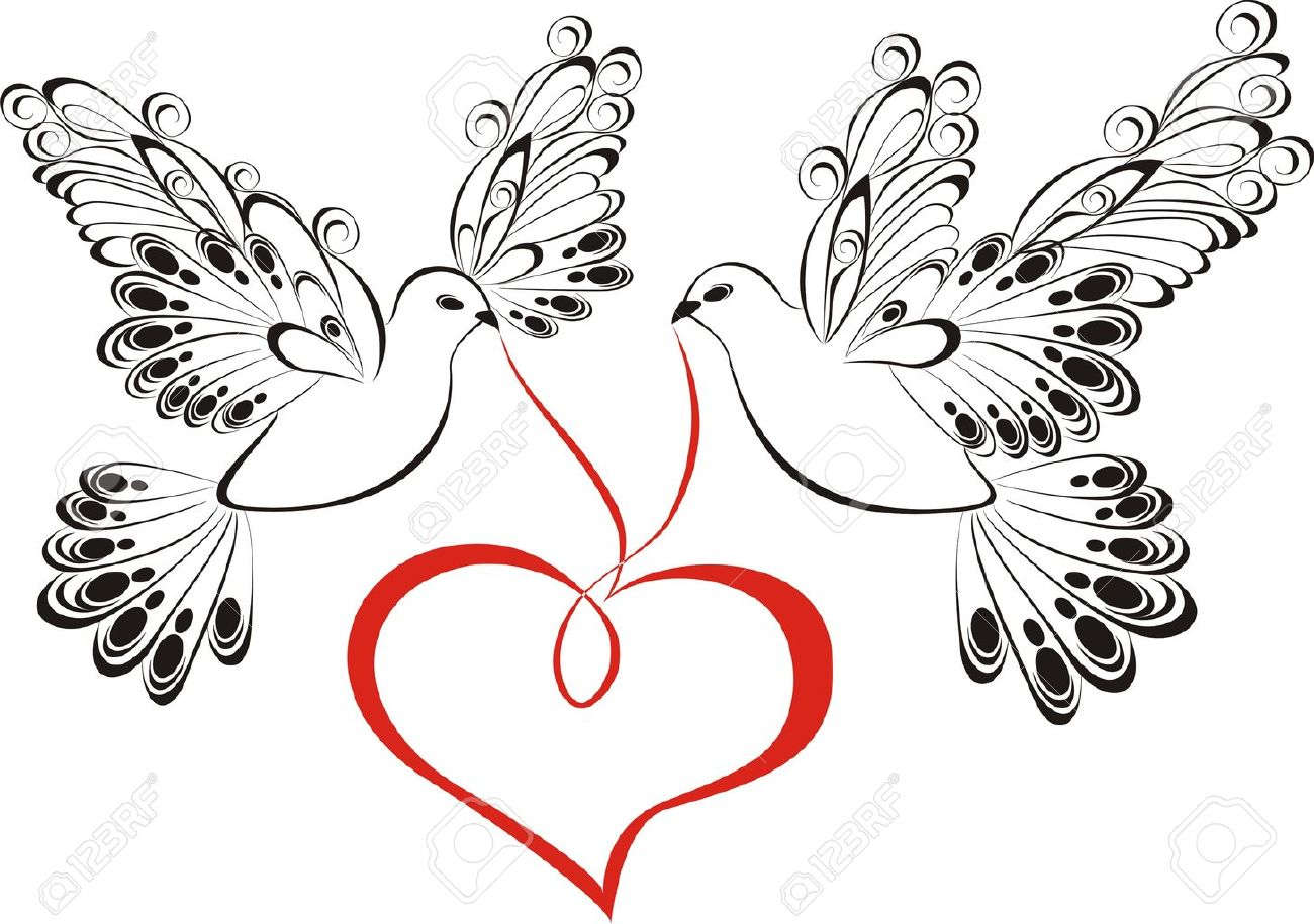 Two love dove with heart Stock Vector - 20225684