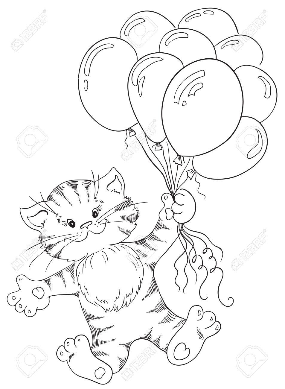 Tarjeta De Felicitación Con Feliz Cumpleaños El Gatito Está Volando ...