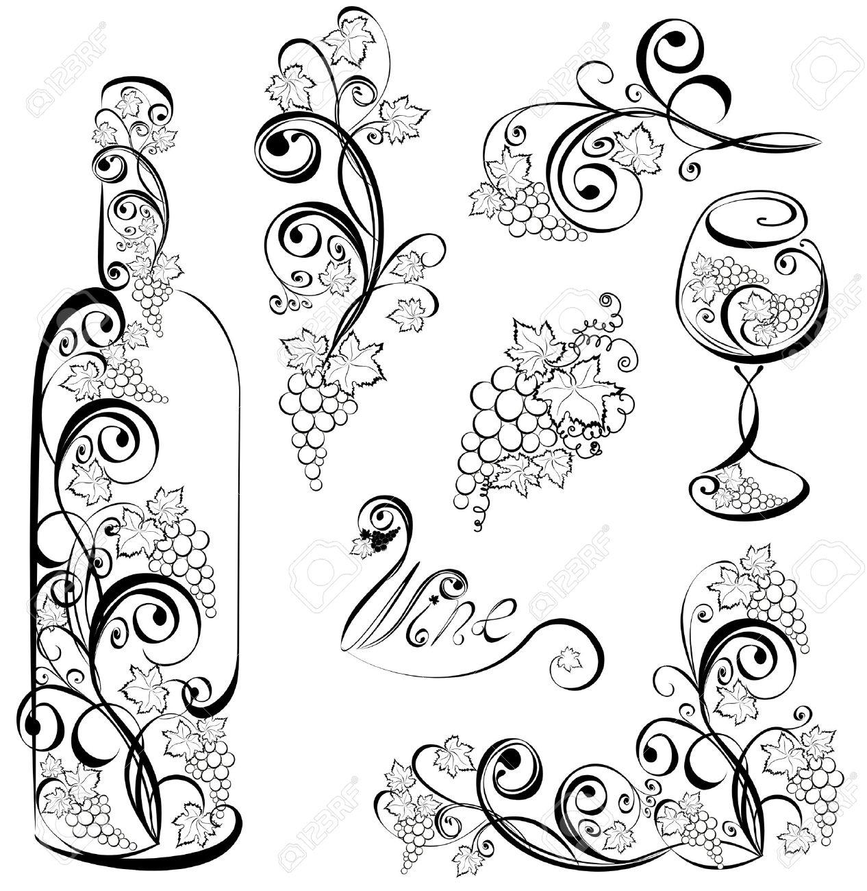 Бутылка роспись трафареты