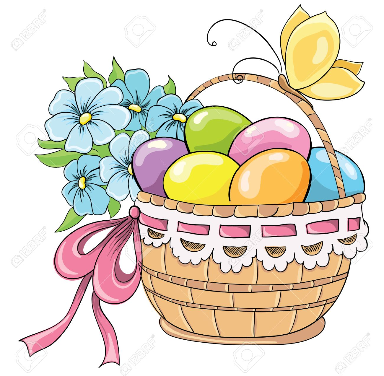 Easter Basket With Eggs And Bouquet Of Flowers Vector Hand Drawing Stock Vector 23468650